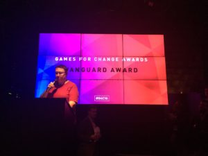 Tracy Fullerton introduces the 2016 Games for Change Vanguard Award