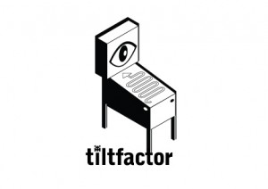 Tiltfactor Logo with a crazy pinball Machine